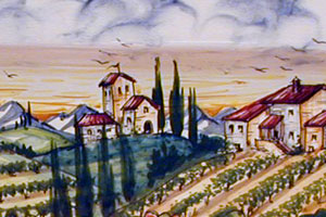 The Art Gallery: Tuscan Landscape - Hand painted, hand decorated Italian, Tuscan Florentine ceramics